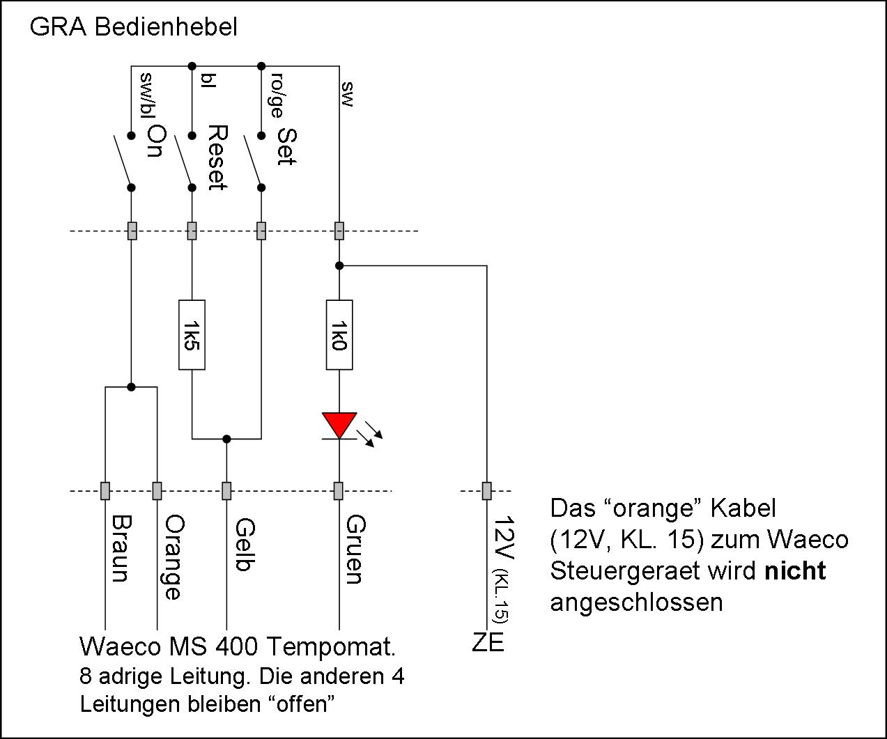 Aftermarket Cruisecontrol Cc Braun Wiring Diagram Translation Braunbrown Gelbyellow Gruengreen Note The Orange Wire From Waeco Control Box Is Not To Be Connected Kl15 As Shown In